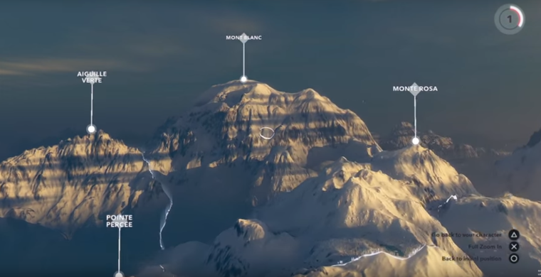 """""""Mountain View"""" allows you to zoom out from your position, observe the world and navigate into your environment via drop zones."""